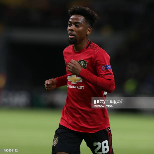 Angel Gomes of Manchester United in action during the UEFA Europa League group L match between FK Astana and Manchester United at Astana Arena on...