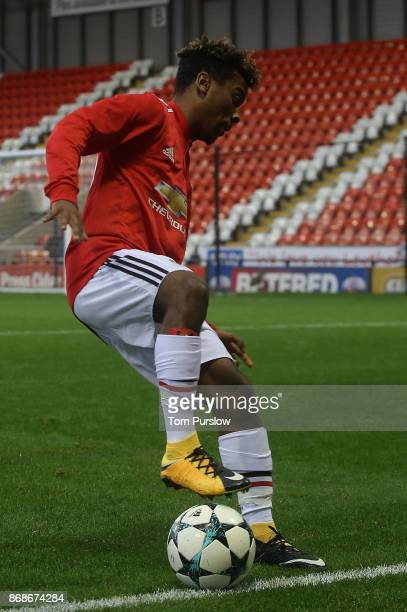 Angel Gomes of Manchester United in action during the UEFA Youth League match between Manchester United and SL Benfica at Leigh Sports Village on...