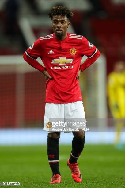 Angel Gomes of Manchester United looks on during the Premier League 2 match between Manchester United and Tottenham Hotspur at Old Trafford on...