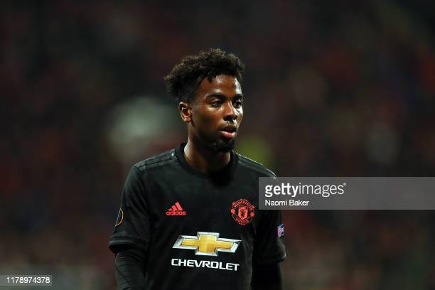 Angel Gomes of Manchester United looks on during the UEFA Europa League group L match between AZ Alkmaar and Manchester United at AFAS-Stadium on...