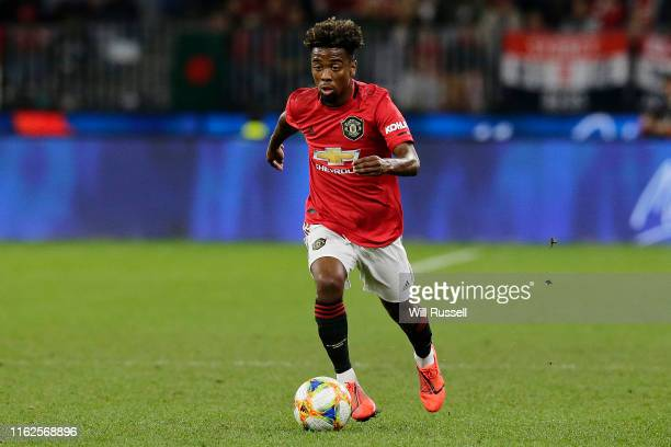 Angel Gomes of Manchester United looks to pass the ball during a pre-season friendly match between Manchester United and Leeds United at Optus...