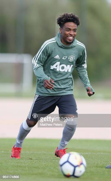 Angel Gomes of Manchester United U18s in action during an U18s training session at Aon Training Complex on May 2 2018 in Manchester England