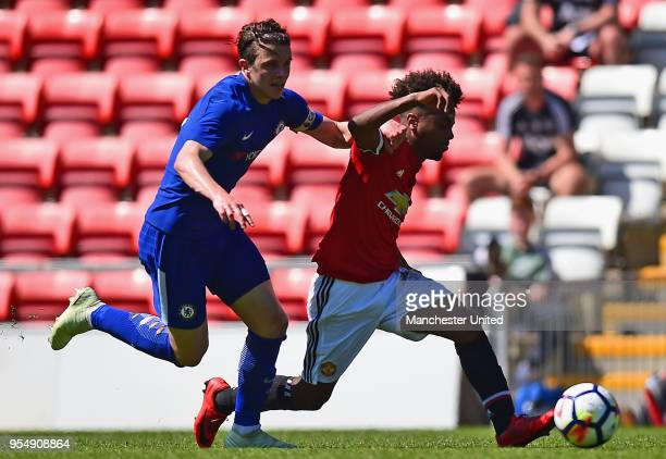 Angel Gomes of Manchester United U18s in action during the U18 Premier League National Final match between Manchester United U18s and Chelsea U18s at...