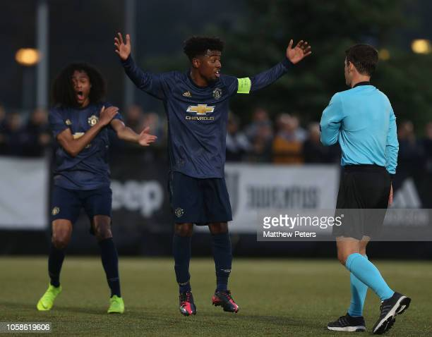 Angel Gomes of Manchester United U19s appeals for a penalty during the UEFA Youth League match between Juventus U19s and Manchester United U19s on...