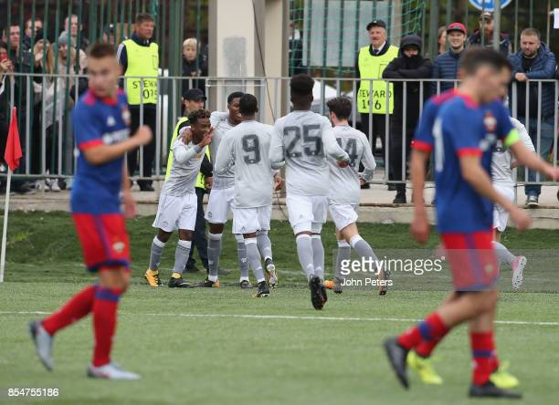Angel Gomes of Manchester United U19s celebrates scoring their second goal during the UEFA Youth League match between CSKA Moskva U19s and Manchester...