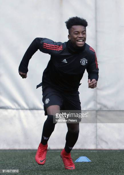 Angel Gomes of Manchester United U19s in action during a training session at Vozdovac Stadium on February 6 2018 in Belgrade Serbia