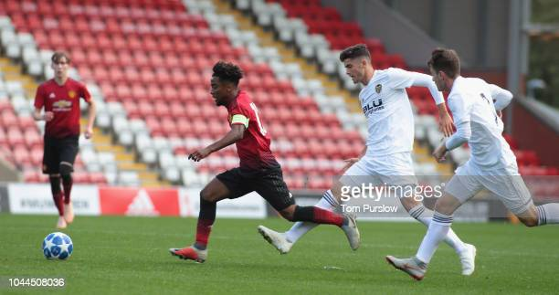 Angel Gomes of Manchester United U19s in action during the UEFA Youth League match between Manchester United U19s and Valencia U19s t Leigh Sports...