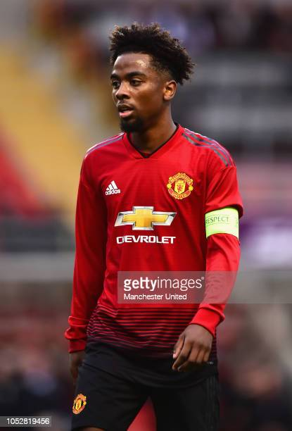 Angel Gomes of Manchester United U19s in action during the UEFA Youth League match between Manchester United U19s and Juventus U19s at Leigh Sports...