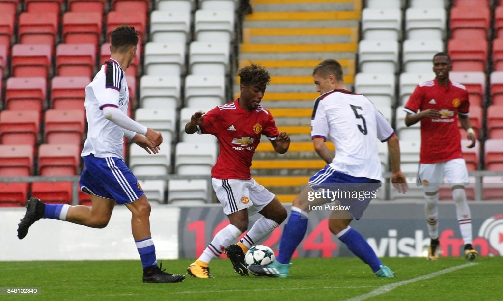 Angel Gomes of Manchester United U19s in action during the UEFA Youth League match between Manchester United U19s and FC Basel U19s at Leigh Sports Village on September 12, 2017 in Leigh, Greater Manchester.
