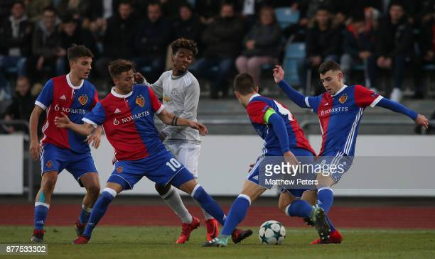 Angel Gomes of Manchester United U19s in action during the UEFA Youth League match between FC Basel U19s and Manchester United U19s at Leichtathletik...