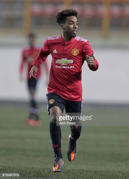 Angel Gomes of Manchester United U19s in action during the UEFA Youth League match between FK Brodarac U19s and Manchester United U19s at Vozdovac...