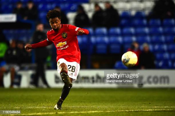 Angel Gomes of Manchester United U21s in action during the EFL Trophy match between Tranmere Rovers and Manchester United U21s at Prenton Park on...