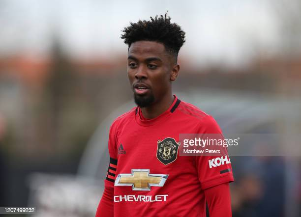 Angel Gomes of Manchester United U23s in action during a friendly match between Club Brugge Youth Team and Manchester United U23s at FC Heist Stadium...