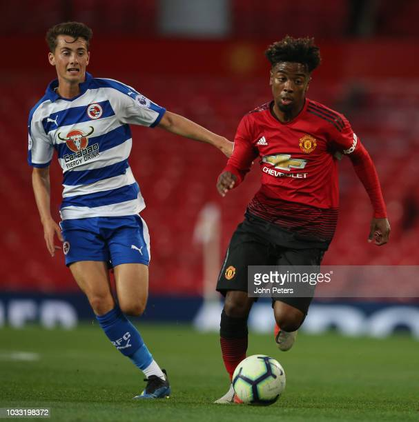 Angel Gomes of Manchester United U23s in action during the Premier League 2 match between Manchester United U23s and Reading U23s at Old Trafford on...
