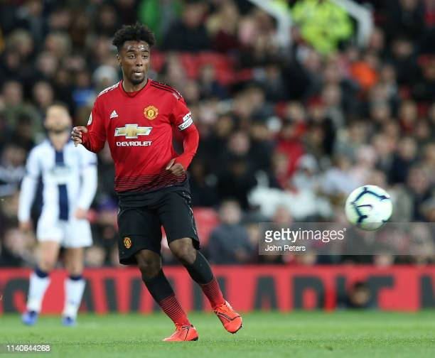 Angel Gomes of Manchester United U23s in action during the Premier League 2 match between Manchester United U23s and West Bromwich Albion U23s at Old...