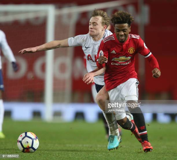 Angel Gomes of Manchester United U23s in action during the Premier League 2 match between Manchester United U23s and Tottenham Hotspur U23s at Old...
