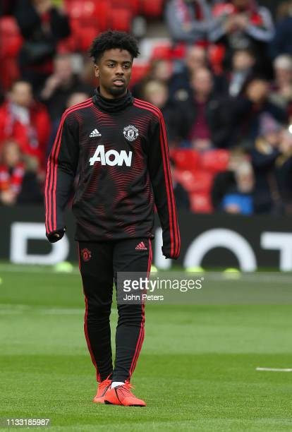Angel Gomes of Manchester United's kit warms up ahead of the Premier League match between Manchester United and Southampton FC at Old Trafford on...