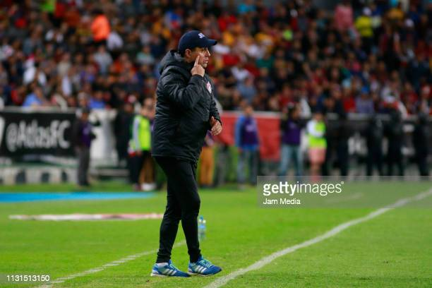 Angel Guillermo Hoyos Coach of Atlas gives instructions during the 8th round match between Atlas and Tigres UNAL as part of the Torneo Clausura 2019...
