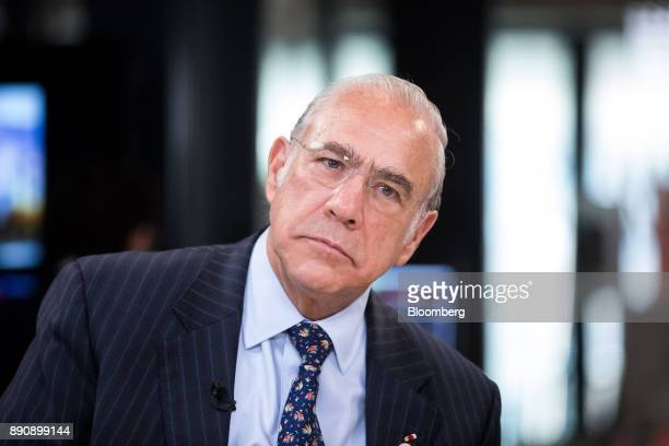 Angel Gurria secretarygeneral of the Organization for Economic Cooperation and Development paues during a Bloomberg Television interview at the One...