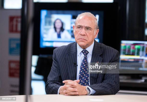 Angel Gurria secretarygeneral of the Organization for Economic Cooperation and Development pauses during a Bloomberg Television interview at the One...