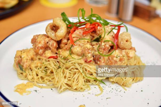 Angel Hair Pasta with Pork and Salted Egg Sauce