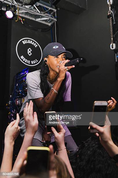 Angel Haze performs on stage at Belgrave Music Hall on January 13 2016 in Leeds England