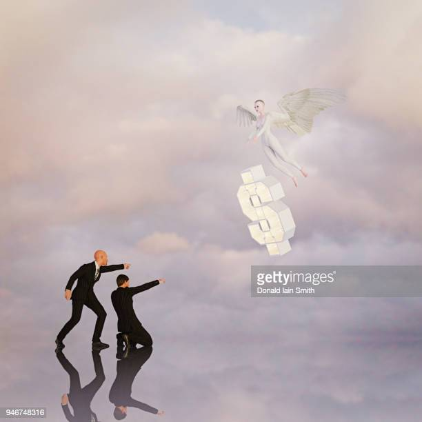 Angel Investor: angel arrives with floating dollar sign watched by two business men in suits