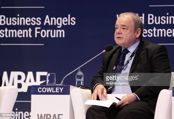 Angel investor Peter Cowley delivers a speech during the 'new rules of wealth management panel' within the World Business Angels Investment Forum at...