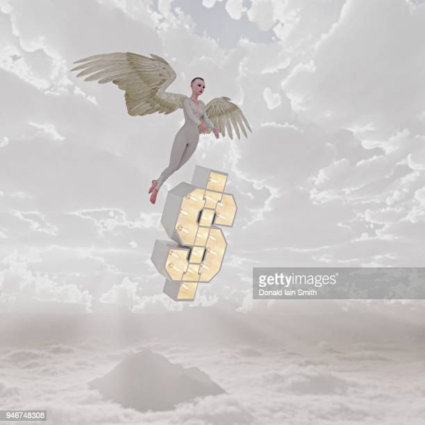 Angel investor with floating dollar sign flying in cloudy sky