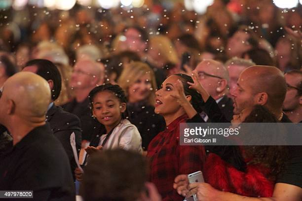 Angel Iris Murphy Brown Mel B Madison Brown Belafonte and Stephen Belafonte attend the Christmas Tree Lighting Ceremony at The Americana at Brand on...