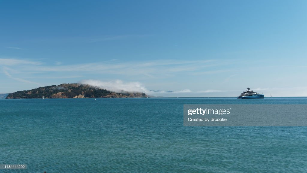 Angel Island and Yacht : Stock Photo
