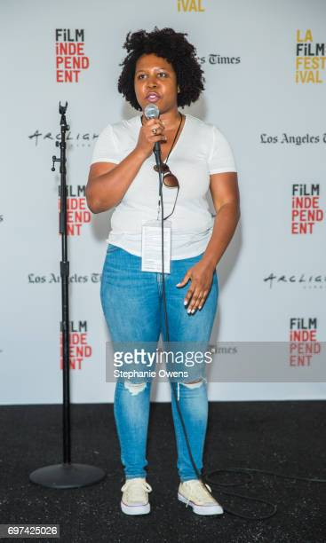 Angel Kristi Williams Film Independent Artist Development Manager speaks during the Women Filmmakers Event during 2017 Los Angeles Film Festival at...