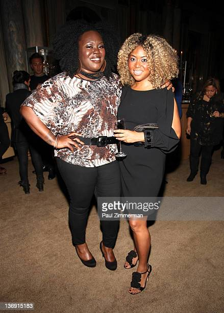 Angel Laws of concreteloop and Titi Branch coowner of Miss Jessie hair products attend the Target salute to Miko Branch and Titi Branch to celebrate...