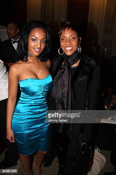 Angel Lola Love and MC Lyte attend the Hip Hop Summit Action Network Inaugural Ball at the Harman Center for the Arts on January 19 2009 in...