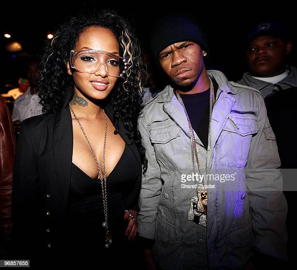 Angel Lola Luv and Chamillionaire attend Beamers Nightclub at on February 14 2010 in Dallas Texas