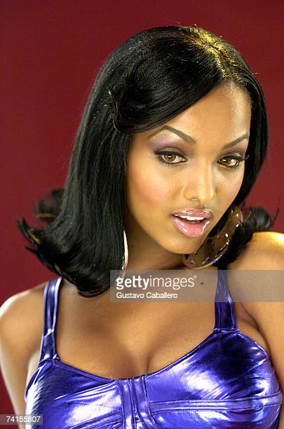 Angel Lola Luv poses on the set of a Twista and Pharrell video on May 14 2007 in Miami Beach Florida