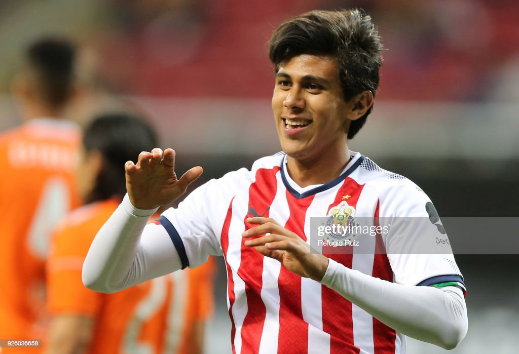 Angel Lopez of Chivas celebrates after scoring his team's third goal during the match between Chivas and Cibao as part of the round of 16th of the CONCACAF Champions League at Akron Stadium on February 28, 2018 in Zapopan, Mexico.