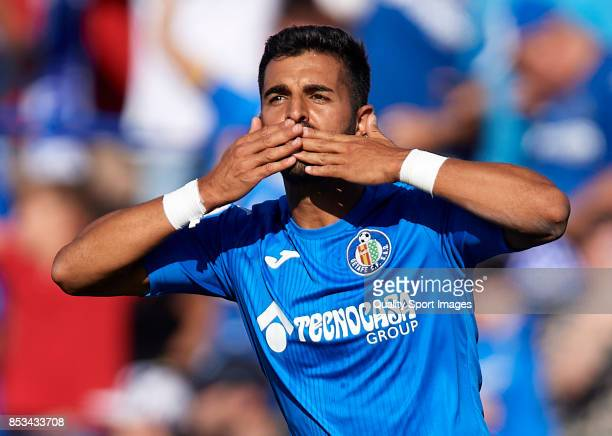 Angel Luis Rodriguez of Getafe celebrates scoring his team's first goal during the La Liga match between Getafe and Villarreal at Coliseum Alfonso...