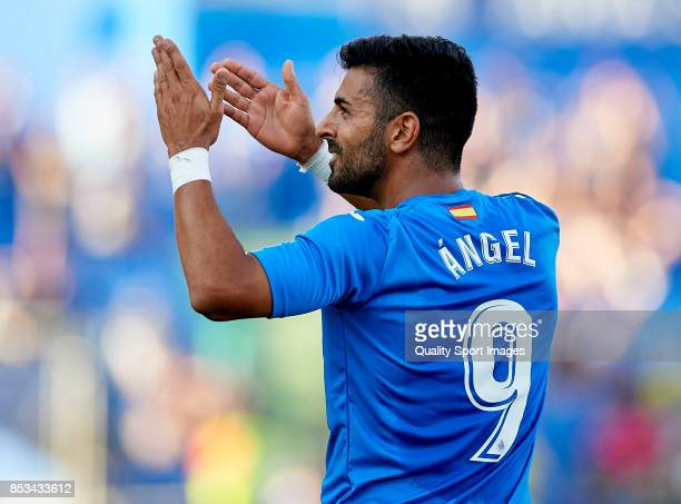 Angel Luis Rodriguez of Getafe celebrates scoring his team's fourth goal during the La Liga match between Getafe and Villarreal at Coliseum Alfonso...