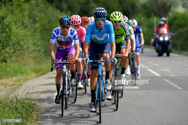 Angel Madrazo Ruiz of Spain and Team BurgosBH Polka Dot Mountain Jersey / Jorge Arcas of Spain and Movistar Team / Mikel Iturria Segurola of Spain...