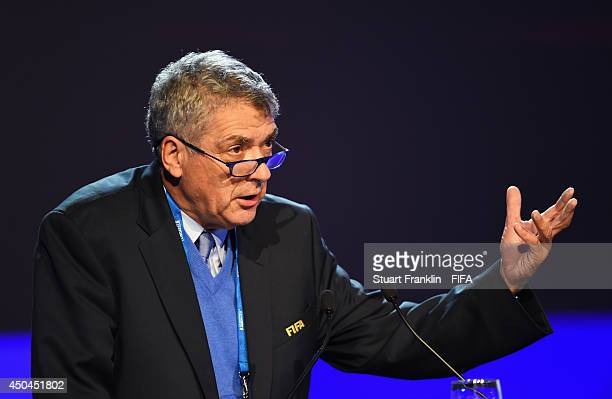 Angel Maria Villar Llona FIFA Executive Committee member talks during the 64th FIFA Congress at the Transamerica Expo Center on June 11 2014 in Sao...