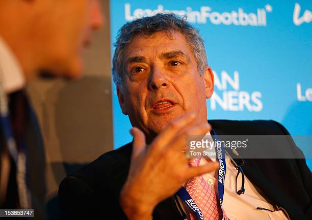 Angel Maria Villar Llona the President of the Spanish Football Federation talks during the Leaders In Sport conference at Stamford Bridge on October...