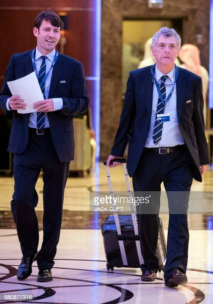Angel Maria Villar President of the Spanish Football Federation leaves a meeting of the FIFA council in Manama on May 9 2017 A fivehour long meeting...
