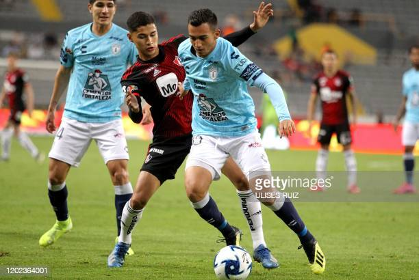 Angel Marquez of Atlas vies for the ball with Luis Chavez of Pachuca during the Mexican Clausura 2020 tournament football match at Jalisco Stadium in...
