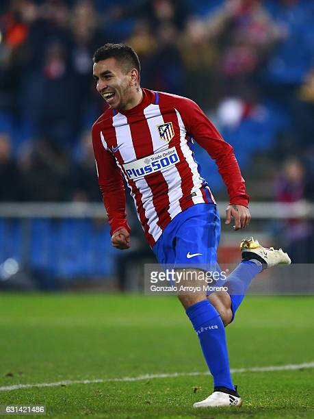 Angel Martin Correa of Atletico de Madrid celebrates scoring their second goal during the Copa del Rey Round of 16 second leg match at Estadio...