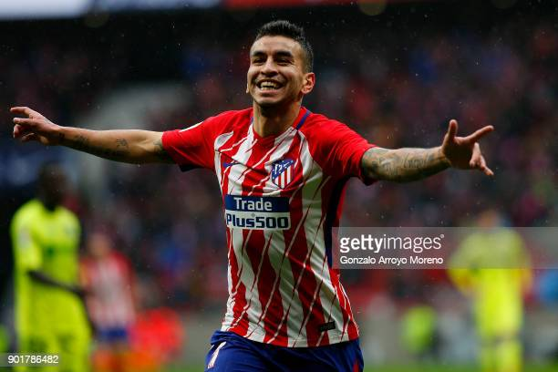 Angel Martin Correa of Atletico de Madrid celebrates scoring their opening goal during the La Liga match between Club Atletico Madrid and Getafe CF...