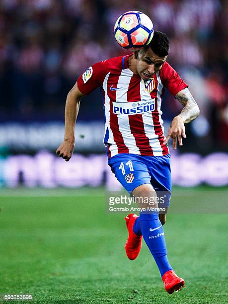 Angel Martin Correa of Atletico de Madrid saves on a header during the La Liga match between Club Atletico de Madrid and Deportivo Alaves at Vicente...