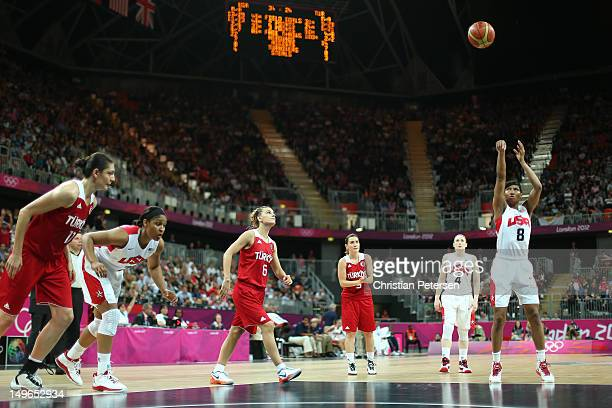 Angel McCaughtry of United States shoots a free throw in the Women's Basketball Preliminary Round match between the United States and Turkey on Day 5...