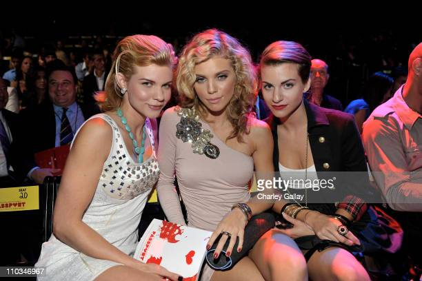 Angel McCord actress AnnaLynne McCord and Rachel McCord pose during the Macy's Passport gala held at Barker Hangar on September 24 2009 in Santa...