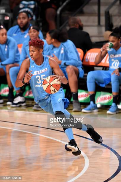 Renee Montgomery of the Atlanta Dream talks to the media after the game against the New York Liberty on July 19 2018 at McCamish Pavilion in Atlanta...